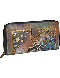 Ladies Clutch Wallet-Premium Peacock Safari by Anuschka