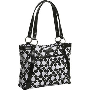 Women's Pleated Laptop Tote - Mod Circles
