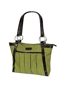 Women's Pleated Laptop Tote - Green Hexagon by Kailo Chic