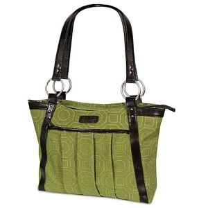 Women's Pleated Laptop Tote - Green Hexagon