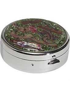 Mother of Pearl Round Pill Box by Budd Leather