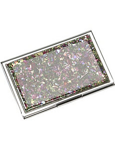 Mother of Pearl Business Card Case by Budd Leather