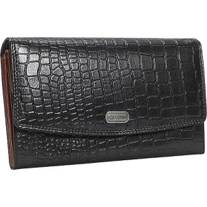 Women's Croc Leather Accordian Wallet