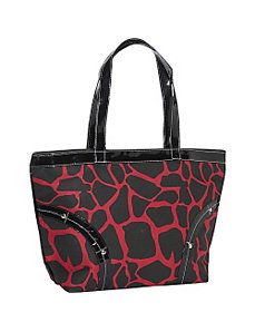 Safari Red and Black Leopard Print Tote by Earth Axxessories
