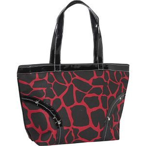 Safari Red and Black Leopard Print Tote