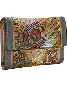 Ladies Three Fold Wallet: Premium Peacock Safari by Anuschka