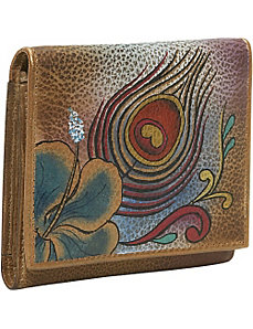 Three Fold Wallet - Premium Peacock Flower by Anuschka