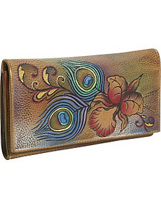 Checkbook Wallet - Premium Peacock Flower by Anuschka