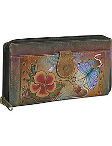 Ladies Clutch Wallet-Premium Hibiscus Antique by Anuschka