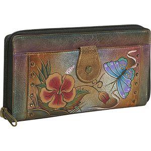Ladies Clutch Wallet-Premium Hibiscus Antique