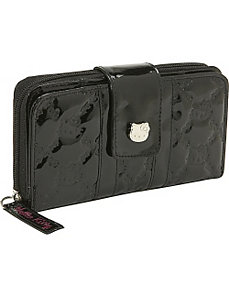Hello Kitty Black Patent Embossed Wallet by Loungefly