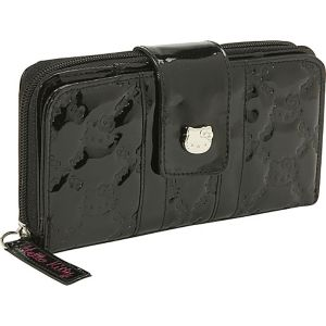 Hello Kitty Black Patent Embossed Wallet