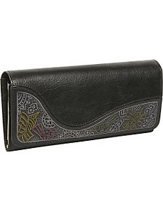 Ladies Large Clutch with Embossing by Derek Alexander Leather