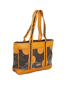 Free Spirit Leather/Coated Print Tote by Hadaki