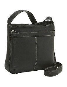 Shoulder Bag w/Exterior Zip Pocket by Le Donne Leather