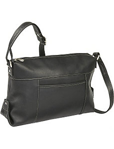 Top Zip Front Slip Shoulder Bag by Le Donne Leather
