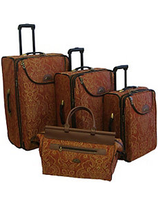 Paisely Gold 4 Piece Luggage Set by American Flyer