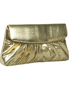 Pleated Smooth Metallic Evening Bag by Coloriffics Handbags