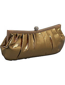 Pleated Metallic Clutch by J. Furmani