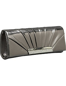 Pleated Metallic Flap Clutch by J. Furmani