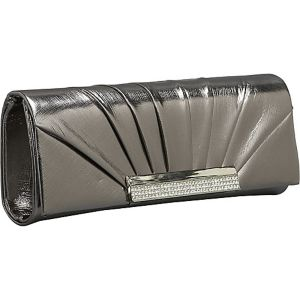 Pleated Metallic Flap Clutch