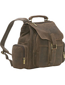 Distressed Leather Multi Pocket Back Pack by Le Donne Leather