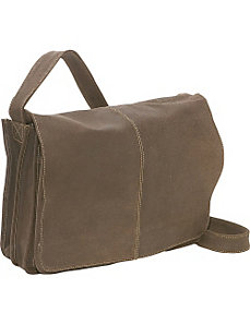 Distressed Leather Quick Access Messenger by Le Donne Leather