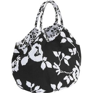 Reversible Cotton-Canvas Bi-Color Floral Bucket Tote