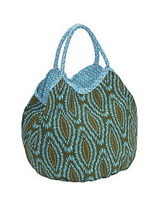 Cotton Canvas Batic Leaves Bucket Tote by Echo