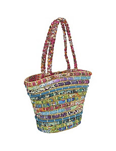 Straw Tote With Multi Fabrics by Cappelli