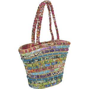 Straw Tote With Multi Fabrics