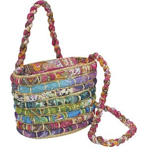 Straw Bag With Multi Fabrics