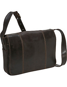 Distressed Leather Laptop Messenger by Le Donne Leather