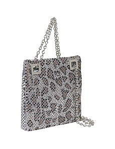 Animal Print Double Chain Metal Mesh Bag by Savanna