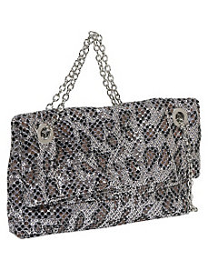 Animal Print Fold Over Metal Mesh Bag by Savanna