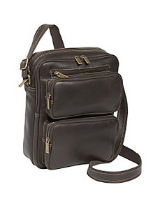 Distressed Leather Multi Pocket iPad / eReader Mens Bag by Le Donne Leather