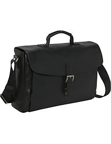 SOHO Collection Slim Flapover Laptop Briefcase by Jack Georges