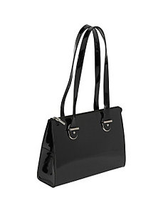 Patent Collection Top Zip Shoulder Handbag by Jack Georges