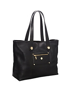Paris Pebbled Leather E/W Laptop Shopper Tote (Battersea) by Knomo
