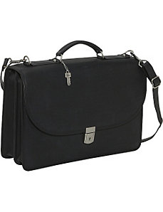 Platinum Collection Flapover Leather Laptop Briefcase by Jack Georges