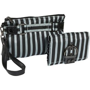 Stripe Cosmetic Wristlet and Wallet