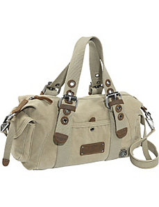 Khaki Canvas Satchel by Earth Axxessories