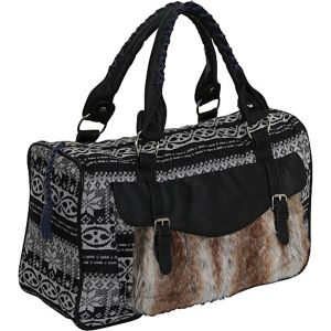 Sweater Knit Faux Fur Satchel