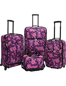Purple Polka Dot 4 Piece Spinner Luggage Set by U.S. Traveler