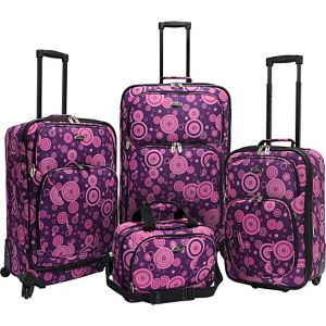 Purple Polka Dot 4 Piece Spinner Luggage Set