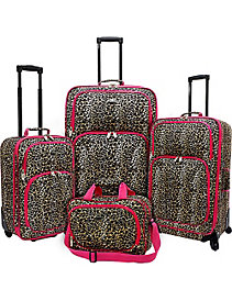 Fashion Leopard 4 Piece Spinner Luggage Set by U.S. Traveler