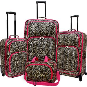 Fashion Leopard 4 Piece Spinner Luggage Set