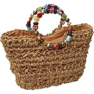 Maize Straw Bag With Beaded Handle