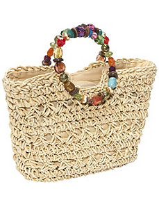 Maize Straw Bag With Beaded Handle by Cappelli