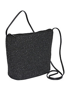 Paper straw and Mix Lurex two-tone crossbody by Magid